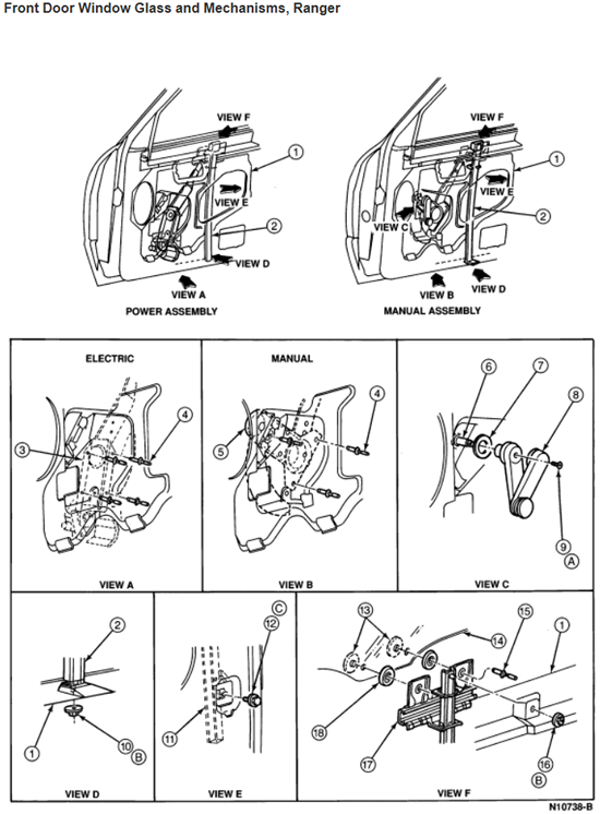 1997 Ford Ranger Front Door Glass Removal Diagram