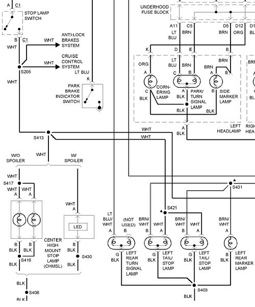 olds intrique brake light diagram