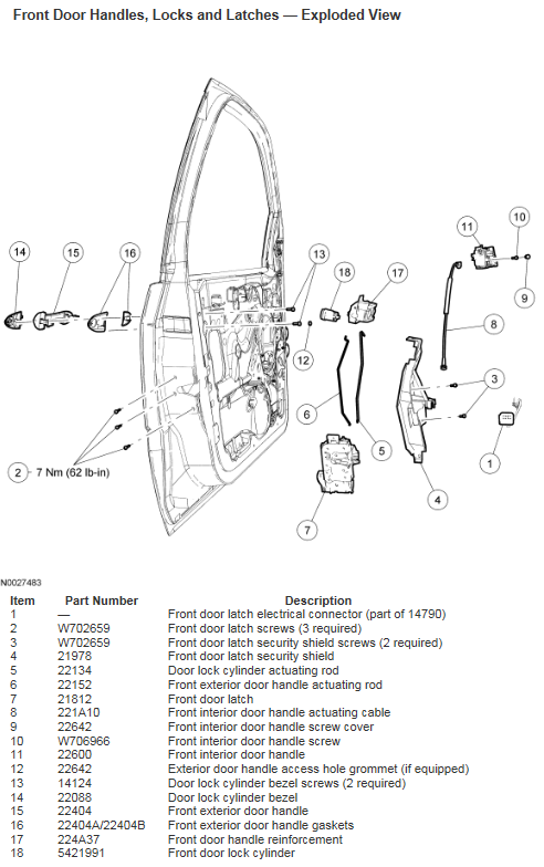 2007 Ford Focus front door handles, locks and latches