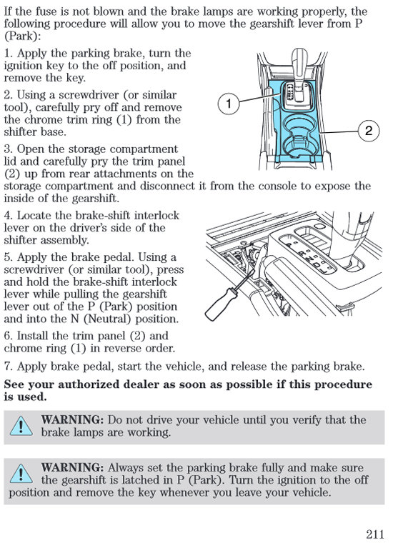 2010 Ford Fusion Brake-Shiftinterlock Bypass instructions