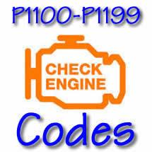 P1100 - P1199 OBD II Diagnostic Codes