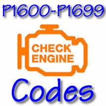 P1600 - P1699 OBD II Diagnostic Codes