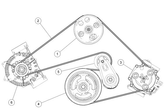 serpentine belt component location diagram 2005 Ford Freestyle