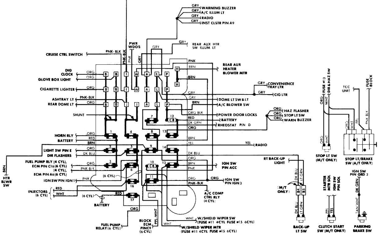 fuse box diagram 1986 GMC Safari Van - No Night Light