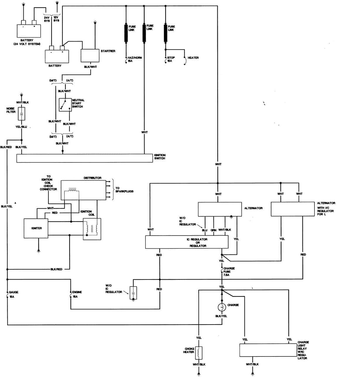 1983 Toyota Pick up Charging system wiring diagram