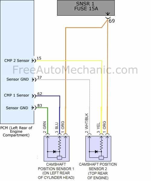Code P0340 camshaft sensor wiring diagram 2009 Hyndai Sonata 2.4L