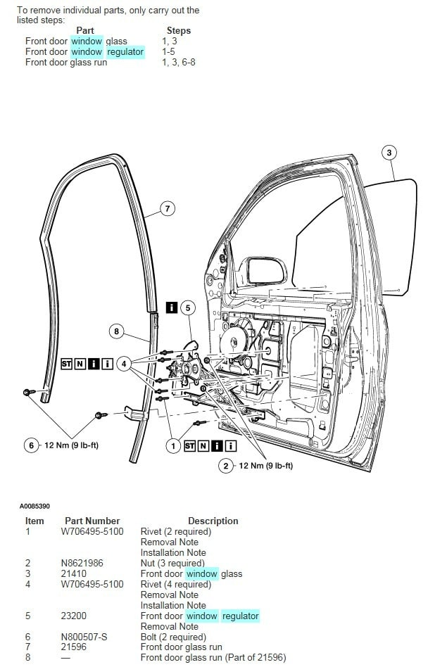window motor replacement diagram