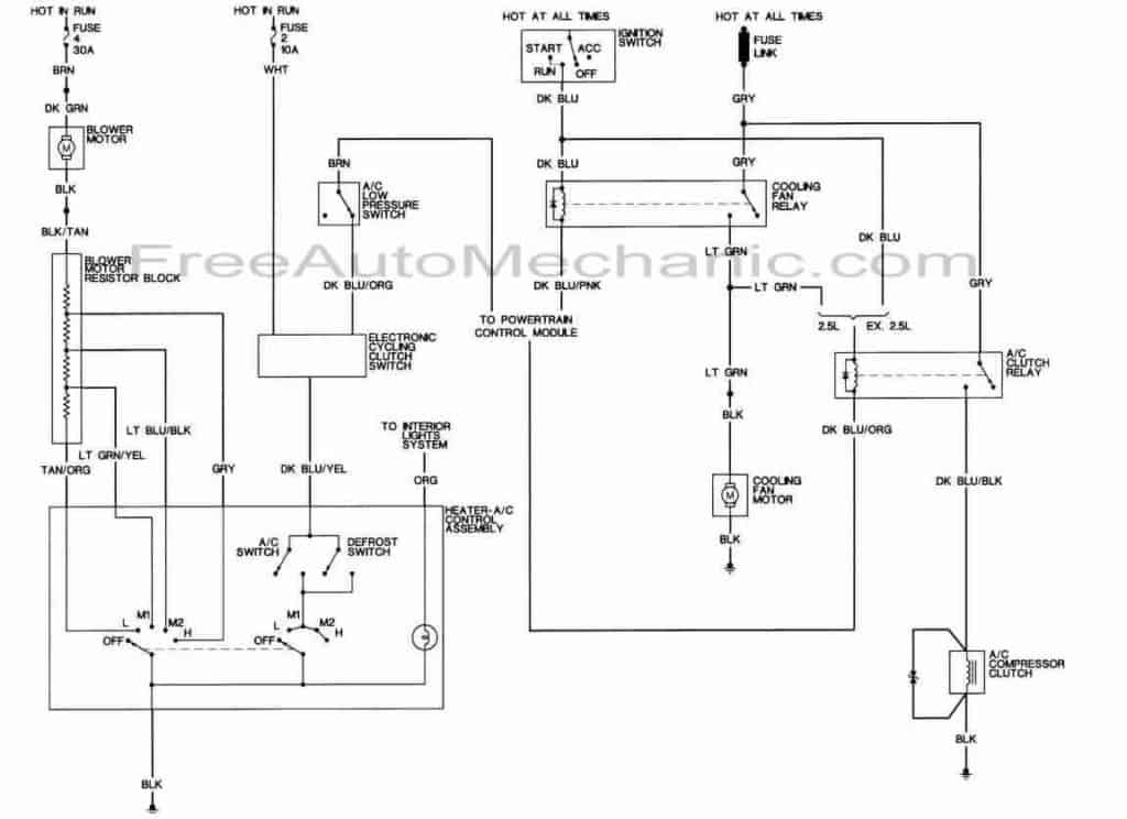 Air Conditioning wiring diagram 1989 Dodge Dakota