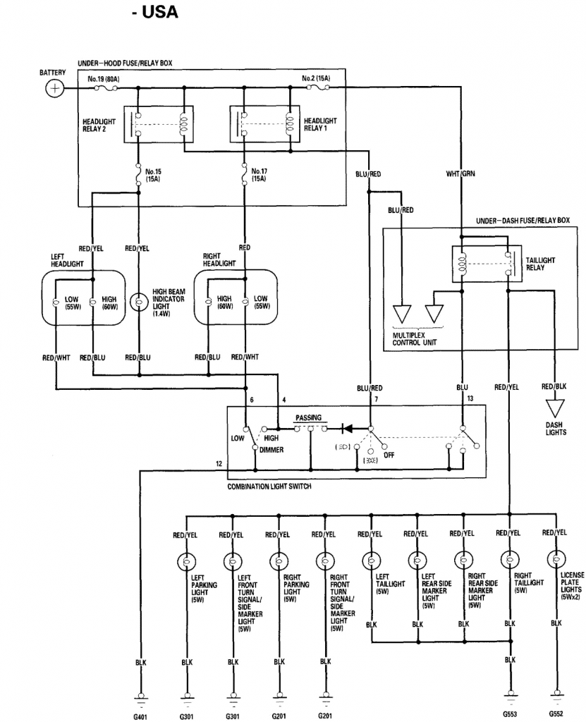 headlight wiring diagram 2002 Honda Civic