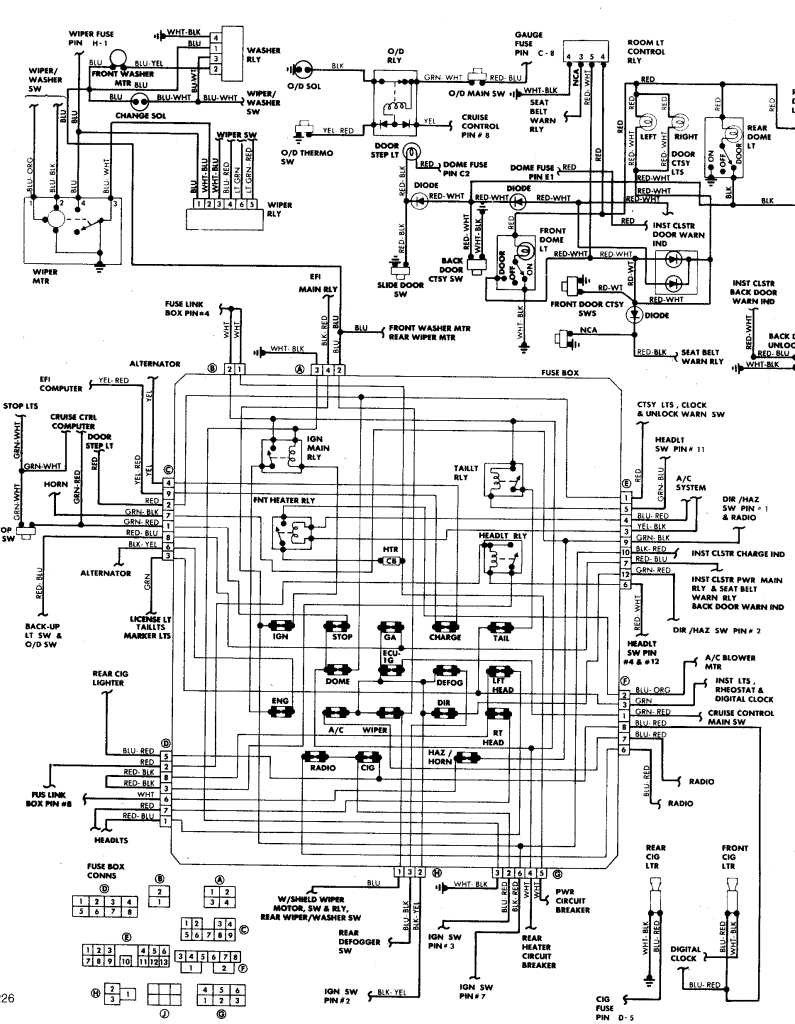 fuse box wiring diagram 1985 toyota van