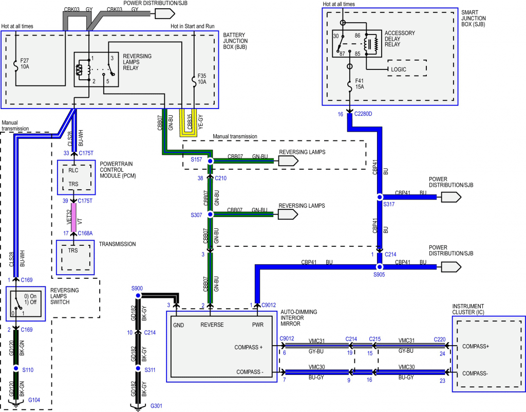 auto-dimming mirror wiring diagram